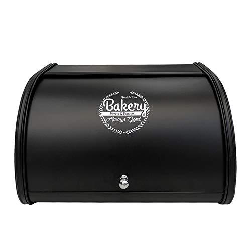 Kontactic Retro Edelstahl Brotkasten mit Deckel - Metall Brotbox mit Rolldeckel, Brotbehälter für frisches aromadichtes Brot Croissants Brötchen, Küchentheke Brotdose, rostfrei Schwarz groß