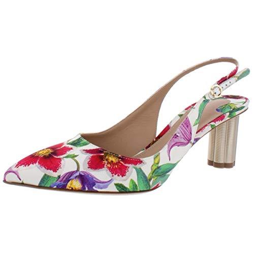 SALVATORE FERRAGAMO Damen Buti-Blumenmuster Spitzer Zehenbereich Slingback Heels, Weiá (Stampa White Fabric), 36.5 EU