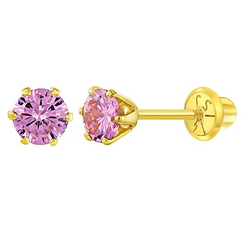 14k Yellow Gold 4mm Solitaire Round Pink Cubic Zirconia for Babies to Toddlers, Small Stud Earrings for Children- Cute and Fashionable Earrings for Little Girls, Tiny CZ Solitaire Screw Backs for Kids