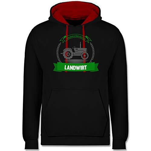 Shirtracer Landwirt - Nur EIN Held fährt aufs Feld - XS - Schwarz/Rot - Bauer - JH003 - Hoodie zweifarbig und Kapuzenpullover für Herren und Damen
