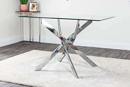 Leonardo 4 Clear Glass And Chrome Metal Modern Stylish Dining Table And 4 Andora Dining Chairs Set (Dining Table Only)