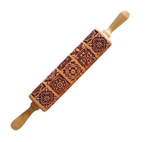 SSyang Motiv Nudelholz,Teigroller aus Holz,Holz Nudelhölzer zum Backen geprägte Kekse,3D Holz Nudelholz,Teigroller mit Prägung,Graviertes Nudelholz für DIY Bäck Gebäck Cookie Küchen