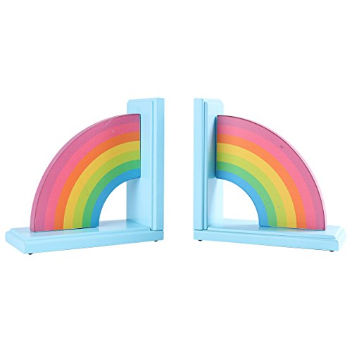 NIKKY HOME Wooden Rainbow Non-Skid Bookends for Home Children's Room Decor, Pack of 2