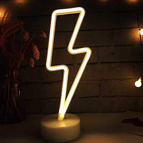 LED Lightning Shaped Neon Signs Lights Battery Operated/USB Powered Warm White Art LED Decorative Night Lights Table Decor for Living Room Office Christmas Birthday Wedding Party Decoration