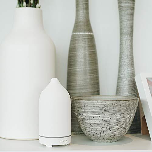 Vitruvi Stone Diffuser, Ceramic Ultrasonic Essential Oil Diffuser for Aromatherapy, White, 90ml Capacity