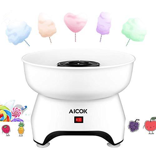 Aicok Zuckerwattemaschine für Zuhause 500W | Weiß Cotton Candy Machine | für Zucker oder Harte Süßigkeiten | Zuckerwattegerät für Kindergeburtstag | inkl Portionierer Löffel und Holzstäbechen