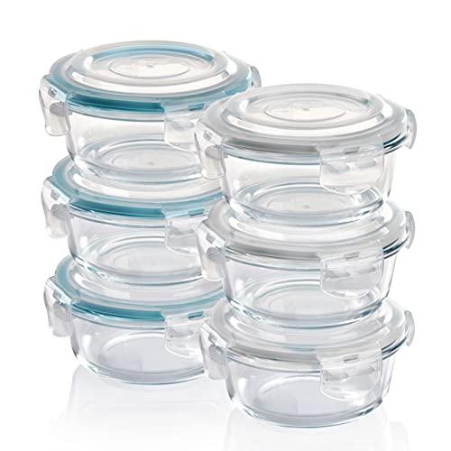 GRIZZLY Contenedores de Almacenamiento de Vidrio para Alimentos - 6 x 400 ml retondo