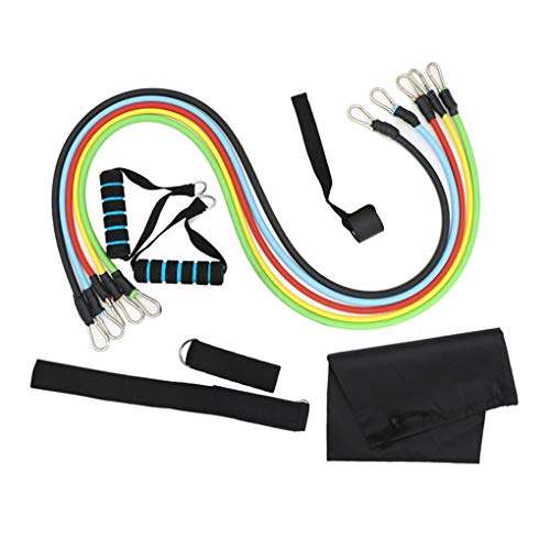 Fitness Resistance Bands Set Exercise Bands with Attached Handles 5 Bodybuilding Workout Bands Elastic Pull Rope Training Tubes, Door Anchor, Ankle Straps Strength Training Loop for Yoga, Pilates