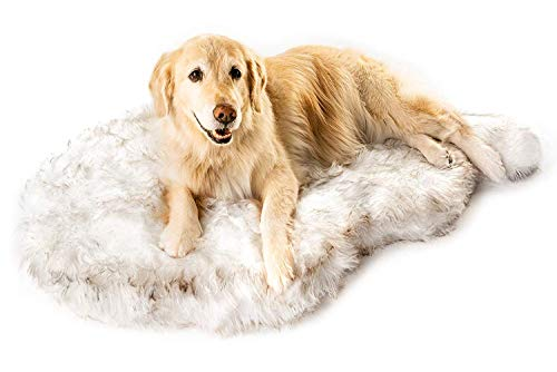 Puprug Faux Fur Memory Foam Orthopedic Dog Bed, Premium Memory Foam Base, Ultra-Soft Faux Fur Cover, Modern and Attractive Design (Large/Extra Large - 50' L X 30' W, White Curve)
