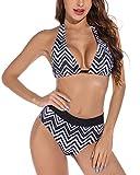 Voqeen Conjuntos de Bikinis para Mujer Push Up Bikini Geometría Traje de baño de Cintura Baja Trajes de baño Adecuado Viajes Playa (Negro & Blanco, XL)