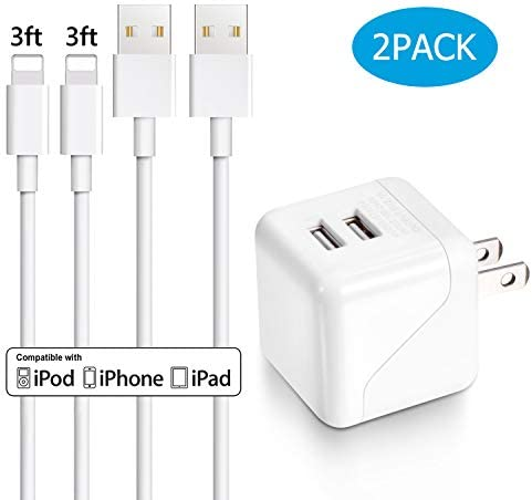 iPhone Wall Charger Everdigi Dual Port Wall Charger Power Adapter with 2 Pack 3FT iPhone Charger product image