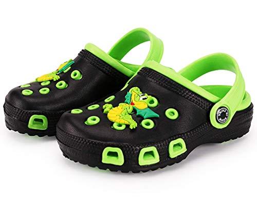 Vorgelen Zoccoli e Sabot Unisex Bambini Pantofole Scarpe estive da Spiaggia Sandali Antiscivolo Scarpe da Giardino per Ragazzi Ragazze Verde Nero 27 EU=Etichetta 28