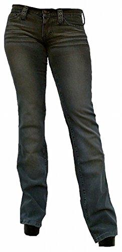 Fornarina Damen Jeans Grau Outrage Stretch Rock Star Bootcut Hose Stonewash Loch Nieten Design (W25/L34)