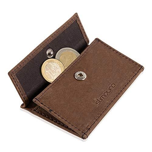 Coin Pocket Münztasche für ZNAP Slim Wallet – Platz für bis zu 10 Münzen – Inklusive RFID Shield Blocker – Kleingeldfach, Münzgeldfach, Münzfach, Coin Case zum Einschieben von Slimpuro (Braun Vintage)
