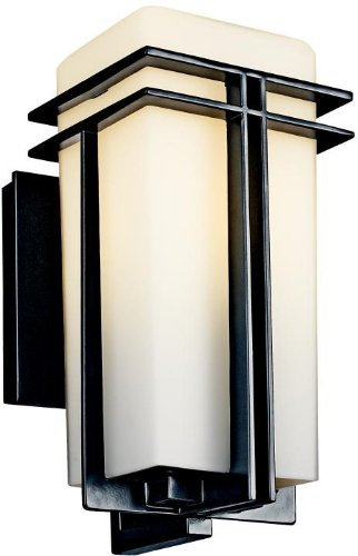Kichler 49200BK, Tremillo Aluminum Outdoor Wall Sconce Lighting, 100 Watts, Black (Painted)