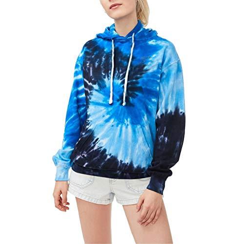 SSMDYLYM Sudaderas con capucha de teñido anudado para mujer, con bolsillo caliente, para primavera, casual, ropa de calle, deportes, suelta, degradado, multicolor (tamaño: código M)