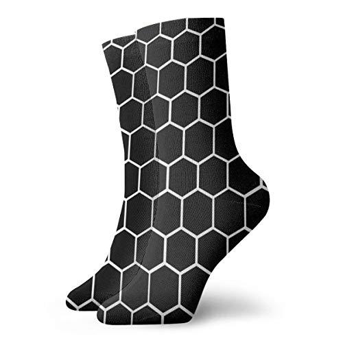 Zwart En Wit Zeshoek, Honingraat, Bijenkorf Modieuze Kleurrijke Funky Patroon Katoen Jurk Sokken 11,8 inch