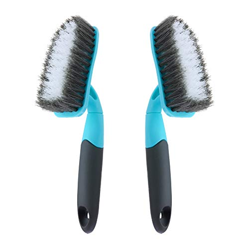 2-Pack Scrub Brush for Cleaning with Long Handle, Medium Firm Brush Bathroom Cleaning Supplies and Bathtub Cleaner and Shower Cleaning Brush, Multi-Scene Use for Kitchen Brush or Carpet Brush