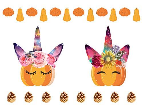 MozamyCreative Herbst Kürbis-Aufkleber, Herbstdekoration, Blumen, Galaxie, Kürbis-Einhorn,...