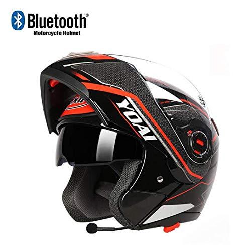 Cascos de Moto Casco Integral Bluetooth Casco Modular Certificación D.O.T Sistema de comunicación Integrado con visores Dobles abatibles