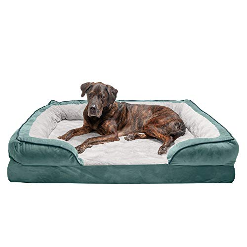 Furhaven Pet Dog Bed - Orthopedic Plush Velvet Waves Perfect Comfort Traditional Sofa-Style Living Room Couch Pet Bed with Removable Cover for Dogs and Cats, Celadon Green, Jumbo Plus