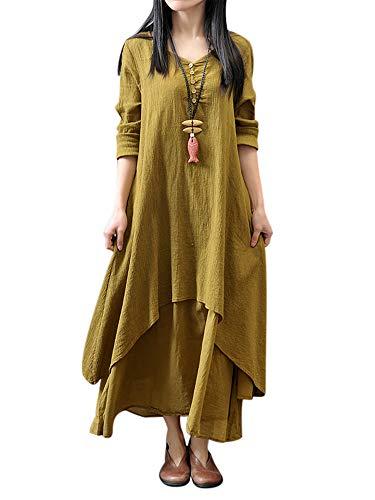 HUANG Vestido largo de manga larga para mujer, estilo bohemio, de algodón, lino, casual, gitano, color sólido, suelto, tallas grandes