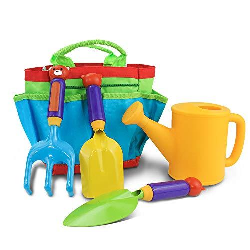 LIUWUSAH Gartenwerkzeug Set Kinder Gartengeräte mit Gießkanne Spaten Schaufel Rechen und Handtaschen Im Freien Geschenk für Junge Mädchen 3 Jahre +