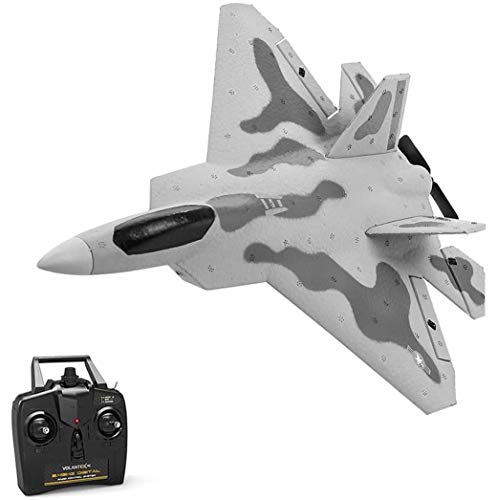 YIQIFEI Avión de Control Remoto, F-22 Raptor Model RC Plane Glider, F-22 4CH Beginner Fighter Airplane, Drone EPP Remote Control RC Airpla (Coche RC)