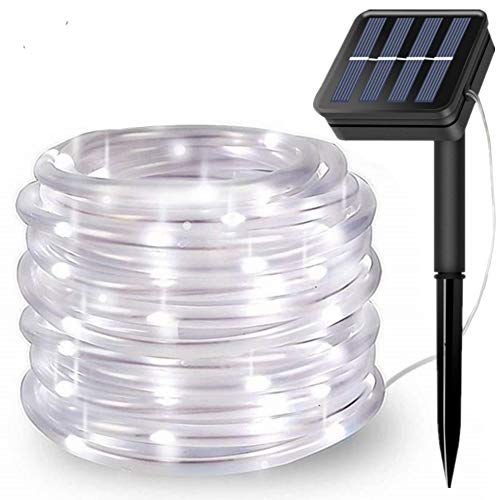 FANSIR Solar String Lights Outdoor Rope Lights, 8 Modes 100 LED Solar Powered Outdoor Waterproof Tube Light Copper Wire Fairy Lights for Garden Fence Patio Yard Party Wedding Decor (Cool White)