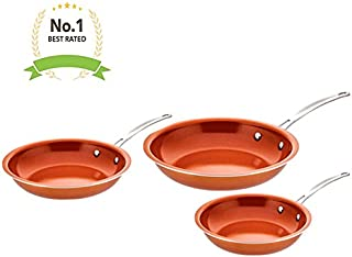 Award Winning Non Stick Copper Ceramic 3 Piece Pan Set - Round Skillet Frying Pan - Even Heating with Steel Handle