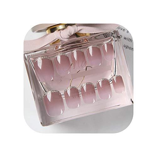 24 pcs Glitter Métal Argent Côté Couverture Courte acrylique presse sur les ongles avec Colle Femmes Violet Gris Dégradé Couleur Nude Faux Ongles-as-