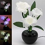 TRONJE LED Flores Navideñas Artificiales 40cm Flor de Navidad Blancas 3W Cambian de Color Xmas Decoración Flor De Pascua
