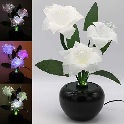 TRONJE LED Fiore Artificiale 40cm Stella di Natale Poinsettia Bianca 3 Fiori Fibra Ottica 3W Cambia Colore Decorazione