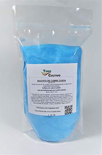 Sulfato de Cobre cúprico Puro 1 Kg. CuSO4. Caldo bordeles. Fungicida Utilizado para eliminación de Hongos, Limpieza de Algas en Piscinas y experimentos de cristalización Escolares.