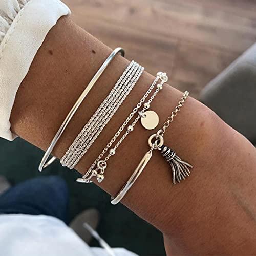 Branets Lot de 4 bracelets boho à pampilles en argent et perles et paillettes-Pour femme et filles