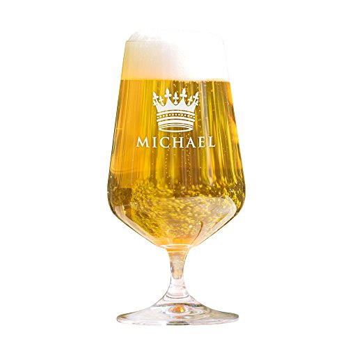 AMAVEL Bierglas mit Gravur, Krone, Personalisiert mit Namen, Gravierte Pilstulpe – Pilsglas für Biertrinker, Füllmenge: 0,4l