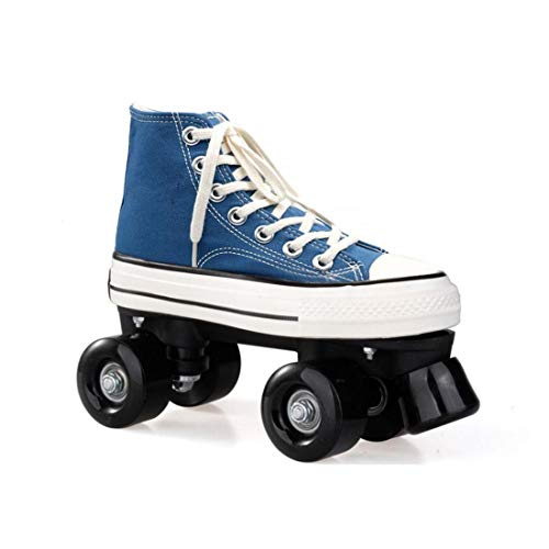 ZXSZX Zapatos Rodantes Azul Claro para Hombres, Scooter Discoteca Adultos Adecuados Carreteras Pasillos, Patinaje Cuádruple LED Niñas Y Niños En Interiores,Black Wheel-35