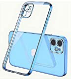 iPhone 12 Pro Max Phone case Blue. Square electroplated Edges. Transparent Crystal Clear Back, Ultra Slim case with Camera Lens Protector. Supports Wireless Charging.