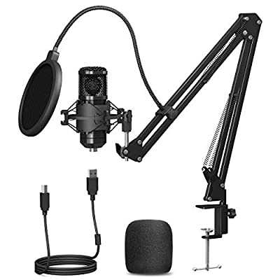 USB Microphone, PEMOTech Professional 192KHZ / 24Bit PC Microphone Kit with Boom Arm Pop Filter Shock Mount Windscreen for Broadcasting, Recording, Skype, Youtube, Gaming