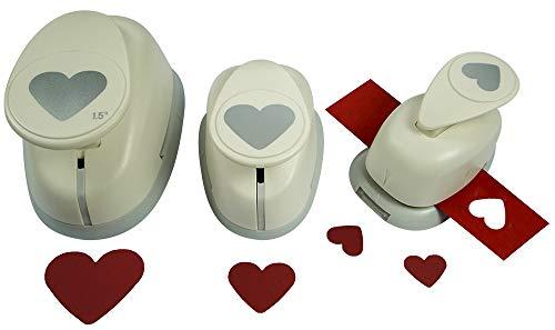 Motivstanzer Set A68013 Herz, 3 STK, Kunststoff, weiß, 1,6cm, 2,54cm, 1x 3,81cm