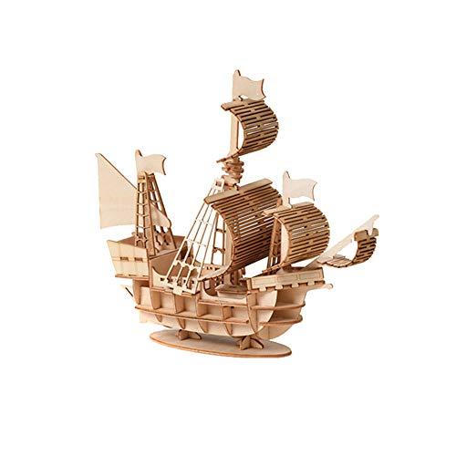 ISAKEN Rompecabezas 3D, modelo de barco de madera, puzzle de madera, juego de construcción de maquetas, juego de construcción de maquetas, juguete educativo para adultos y niños