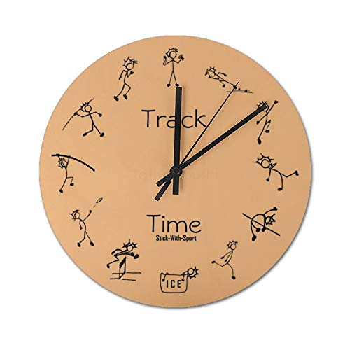 Pealrich Reloj de pared de 25 x 25 cm, con diseño de decatlón, de madera, redondo, para salón, decoración del hogar, fácil de leer.