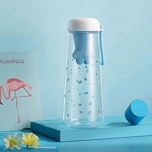 Botella de agua Botella De Agua De Plástico De 550 Ml, Botellas De Infusor De Té Rosa, Botella De Agua Bonita Para Niñas Kawaii, Bebida Inteligente Transparente