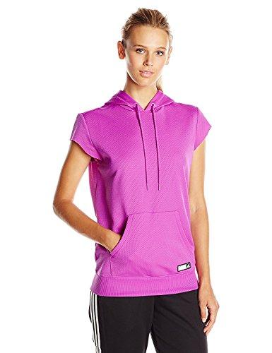 adidas Damen Adigirl Short Sleeve Hoody, Damen, Shock Purple, Small