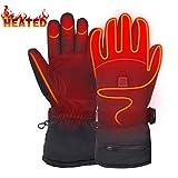 Mermaid Beheizte Handschuhe mit 7.4V-Akkus, Herrenhandschuhe für chronisch kalte Hand, Handwärmer-Handschuhe Erhitzte Motorradhandschuhe für Geschenke, Jagd, Arbeiten im Freien (Schwarz L)