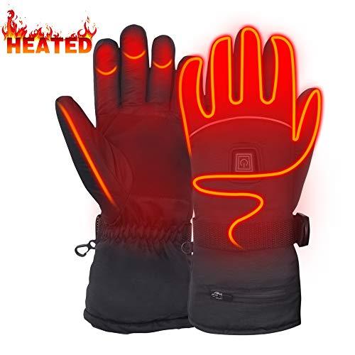 Mermaid Beheizte Handschuhe mit 7.4V-Akkus, Herrenhandschuhe für chronisch kalte Hand, Handwärmer-Handschuhe Erhitzte Motorradhandschuhe für Geschenke, Jagd, Arbeiten im Freien(Schwarz L)