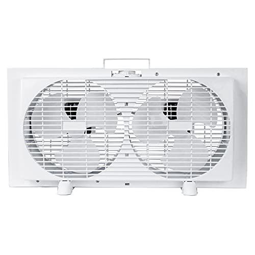 BEYOND BREEZE Premium 9' Twin Window Fan 2-Speed Reversible Airflow Blades, Expandable, Manual Controls (Min. 22.3' Max. 34.3')