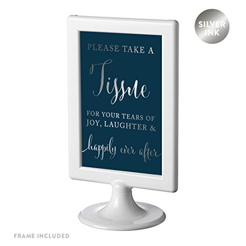 Andaz Press Framed Wedding Party Signs, Metallic Silver Ink on Navy Blue, 4x6-inch, Please Take A Tissue for Your Tears of Joy, Laughter and Happily Ever After, 1-Pack