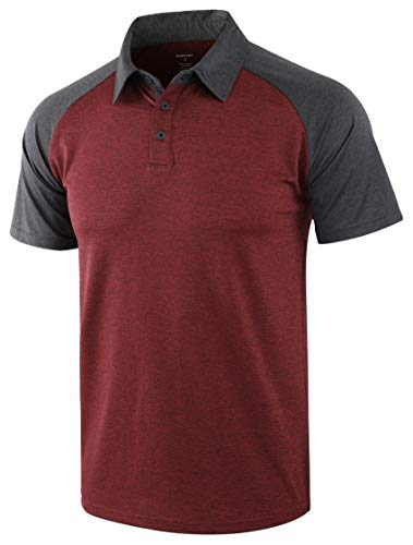 DESPLATO Men's Casual Basic Lightweight Active Tagless Short Sleeve Polo Shirts Rusty Red/Heather Black L