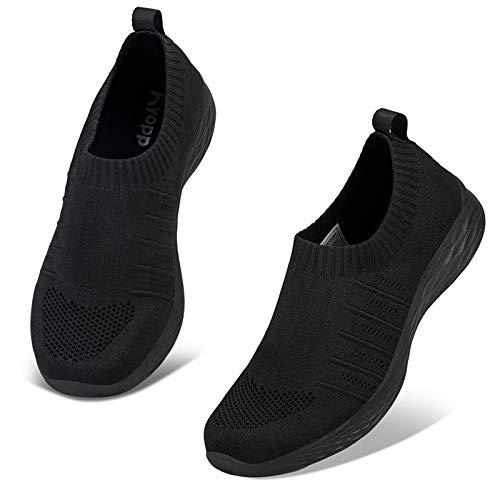 Kyopp Damen Turnschuhe Atmungsaktiv Leichte Sportschuhe Sneaker für Fitness Gym Outdoor Walkingschuhe Freizeitschuhe Laufschuhe(2 Schwarz 38EU)
